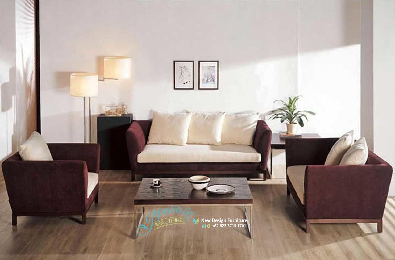 Sofa Ruang Tamu Minimalis Bludur Mewah Mebel Jepara Terbaru