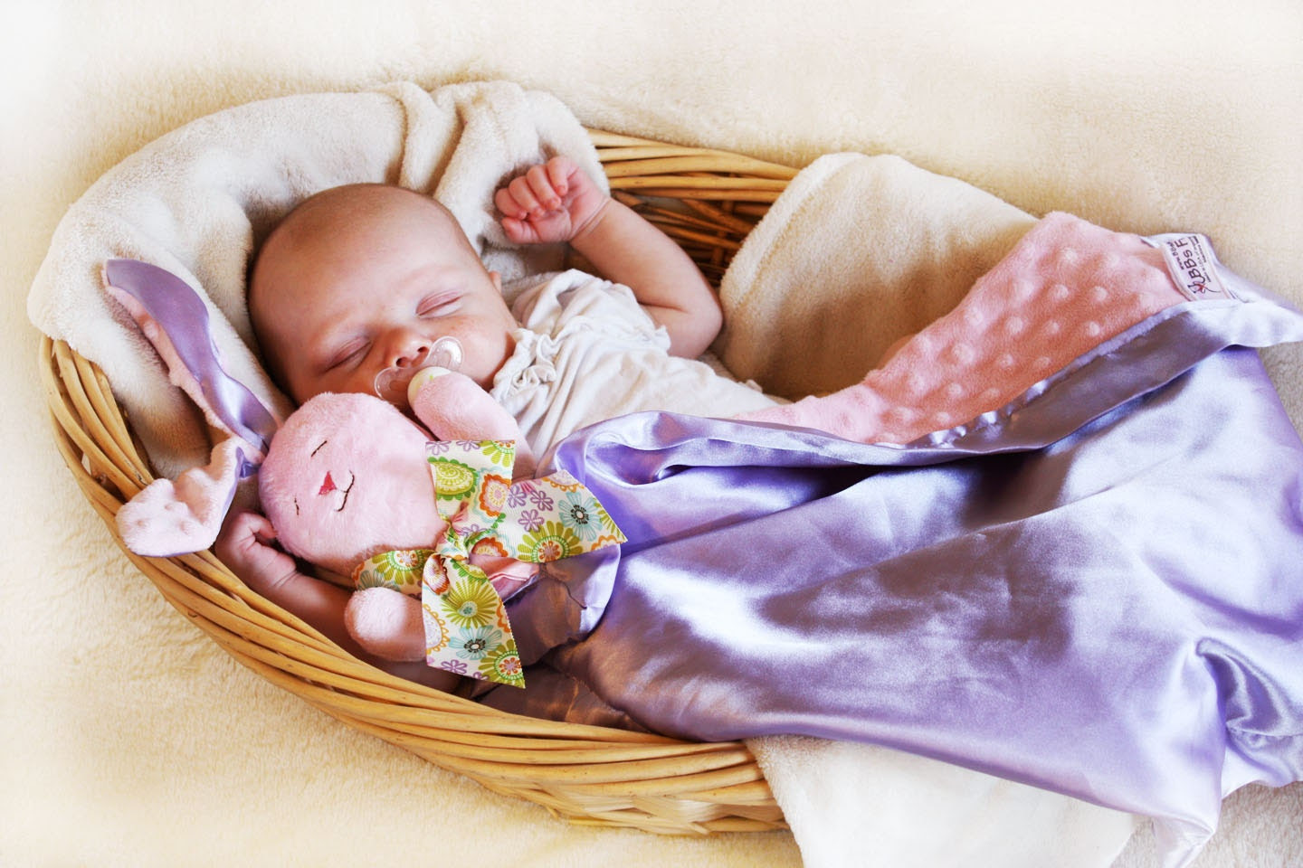 Items similar to Large Bunny Security Blanket Baby Blanket Lovey