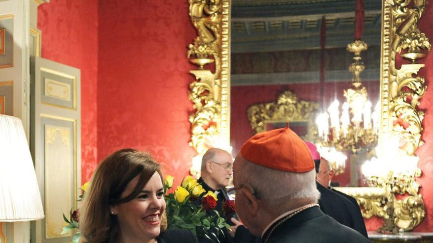 La vicepresidenta del Gobierno junto al presidente de la Conferencia Episcopal, Ricardo Blázquez