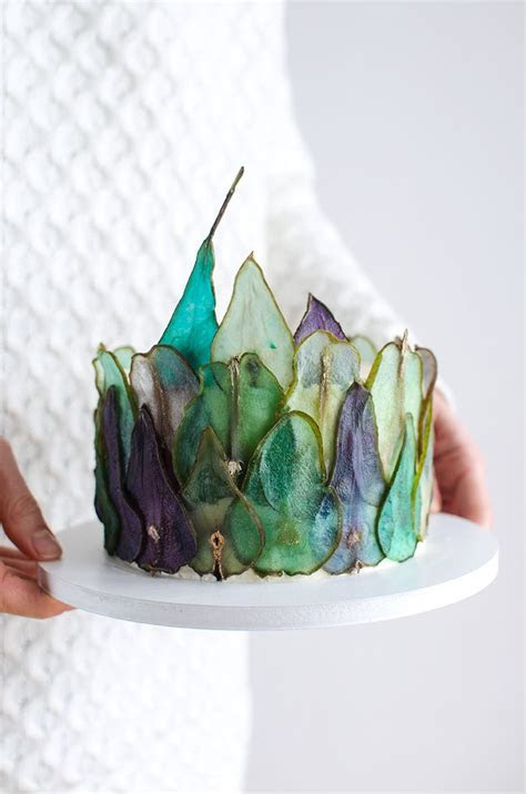 How to make colorful pear slices to decorate cakes DIY