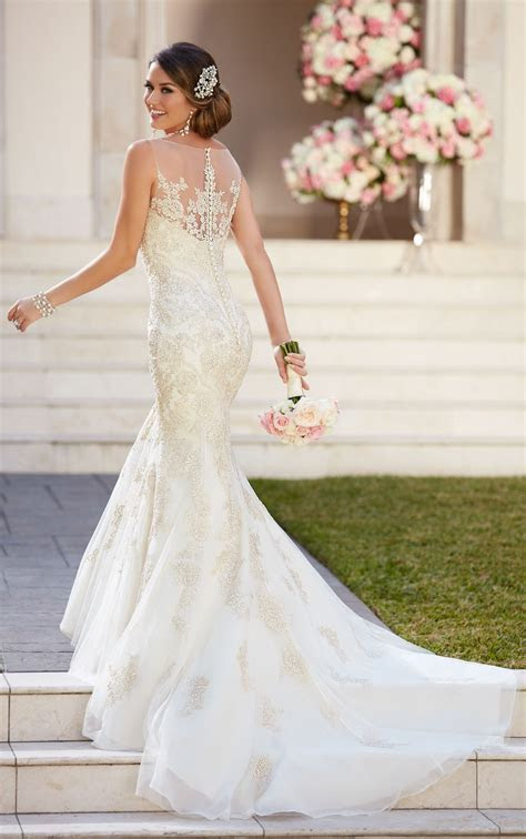 Fit and Flare Wedding Dress with Illusion Neckline