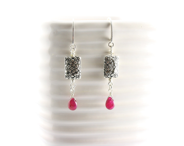 Ruby Earrings -July Birthstone -40th Anniversary  -Sterling Silver - thejewelstreet