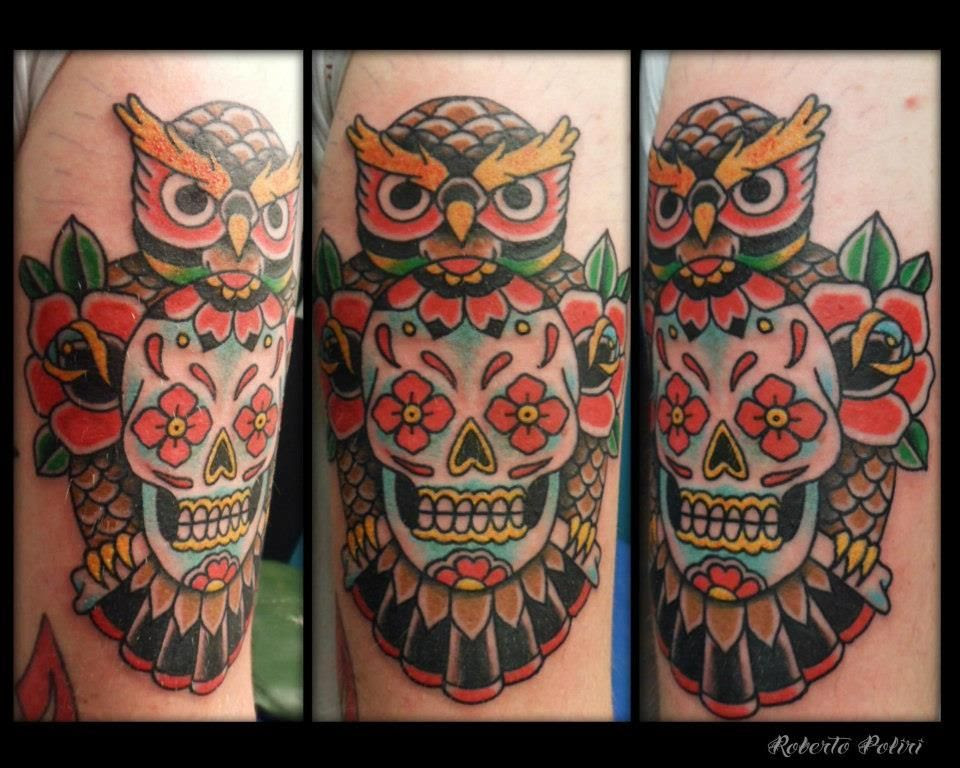 Owl Sugar Skull Tattoo Design Totally Get It If I Had The