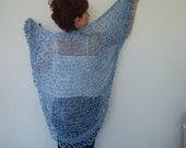 Blue knits  knitting Triangle  Shawl sustainable fashion - designbySEMY