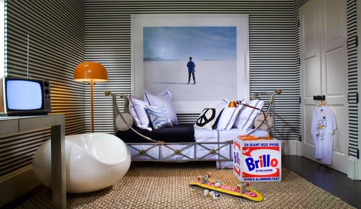 Black and White Striped Walls - Contemporary - boy's room - Martha ...