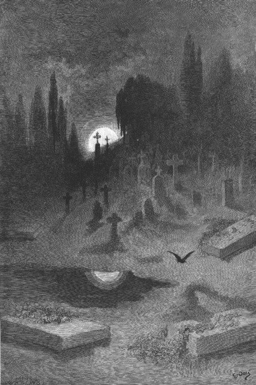 sailorplacide:  Gustave Doré~ illustration for Edgar Allen Poe's The Raven published in 1884 Poe at his best