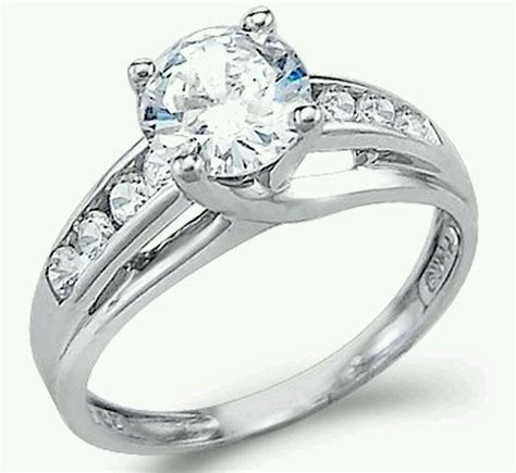 Solid 14k White Gold 1.50TCW Round CZ Engagement Solitaire