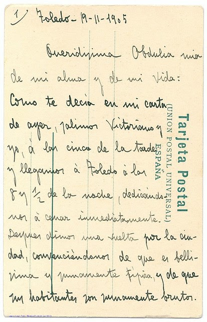 Postal de Joaquín Turina a Obdulia Garzón escrita en Toledo el 19 de noviembre de 1905 © Fundación Juan March