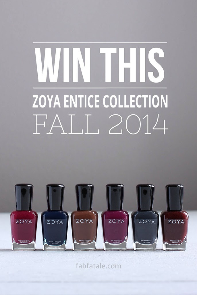 I just entered to win the newly released Zoya Entice Fall 2014 collection at http://www.fabfatale.com/2014/09/zoya-entice-collection-swatches/ #zoya #nailpolish #zoyaentice #giveaway