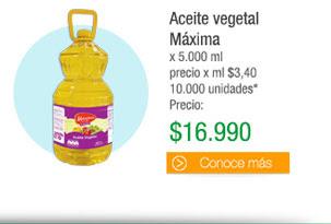 Aceite vegetal Máxima - x 5.000 ml precio x ml $3,40 10.000 unidades - PRECIO: $16.990