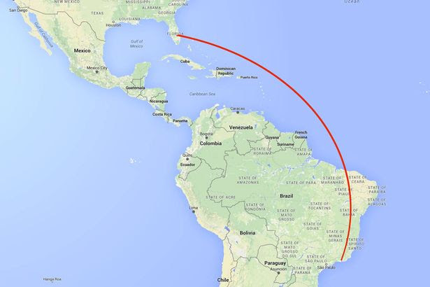 Map showing flight path of American Airlines plane from Rio de Janeiro to Miami