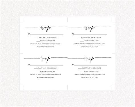 RSVP Card Printable Template · Wedding Templates and