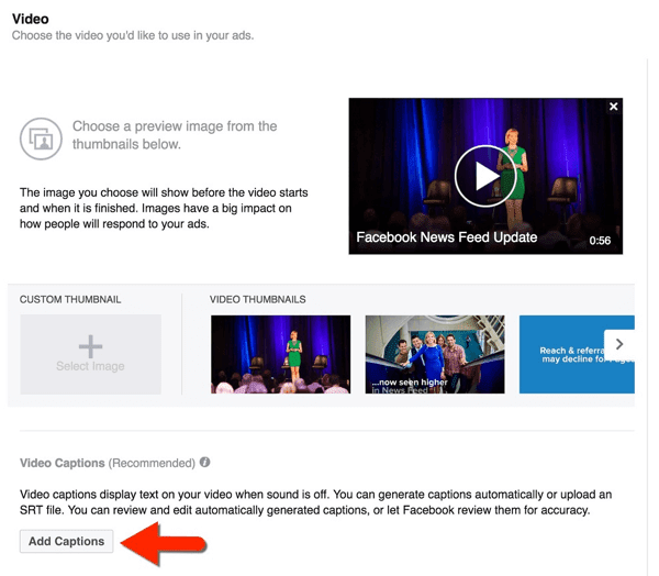 add captions to facebook video ad