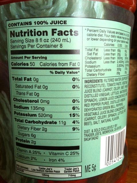 V8 Juice Nutritional Label - Labels