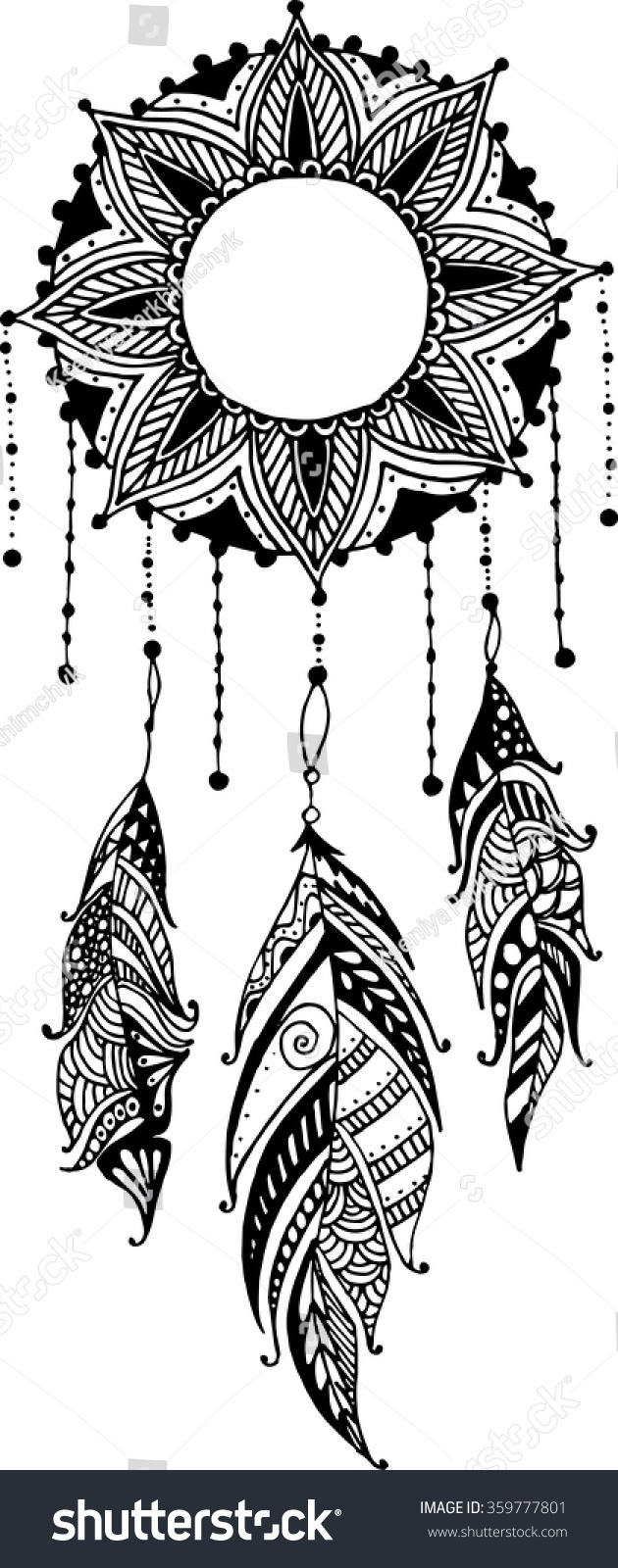 stock vector hand drawn sun mandala dreamcatcher with feathers ethnic illustration tribal american indians 359777801