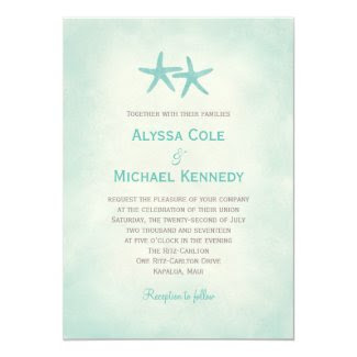 Watercolor Starfish Beach Wedding Invitation Custom Invitation