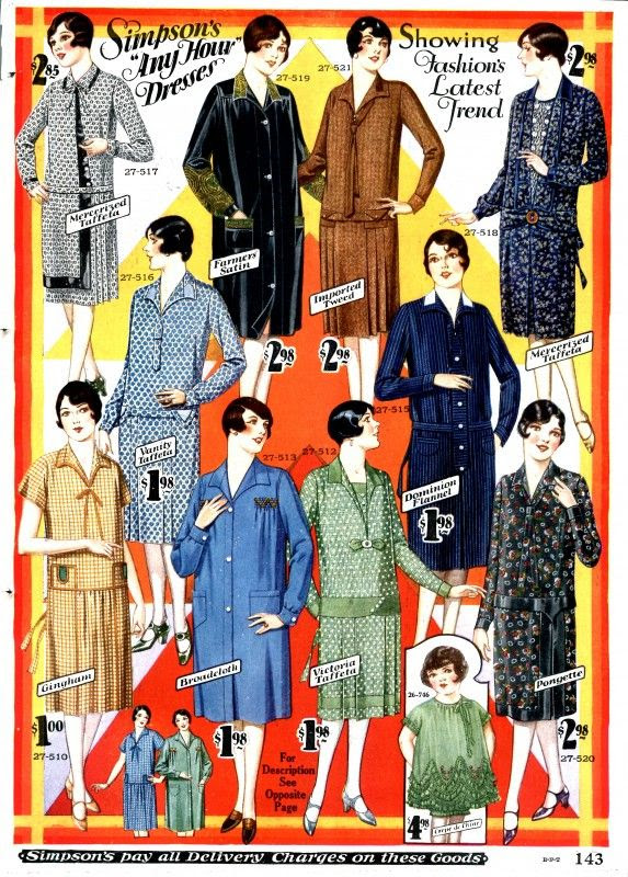 Knee-grazing house/day dresses from 1928. #vintage #1920s #fashion #dresses #ads