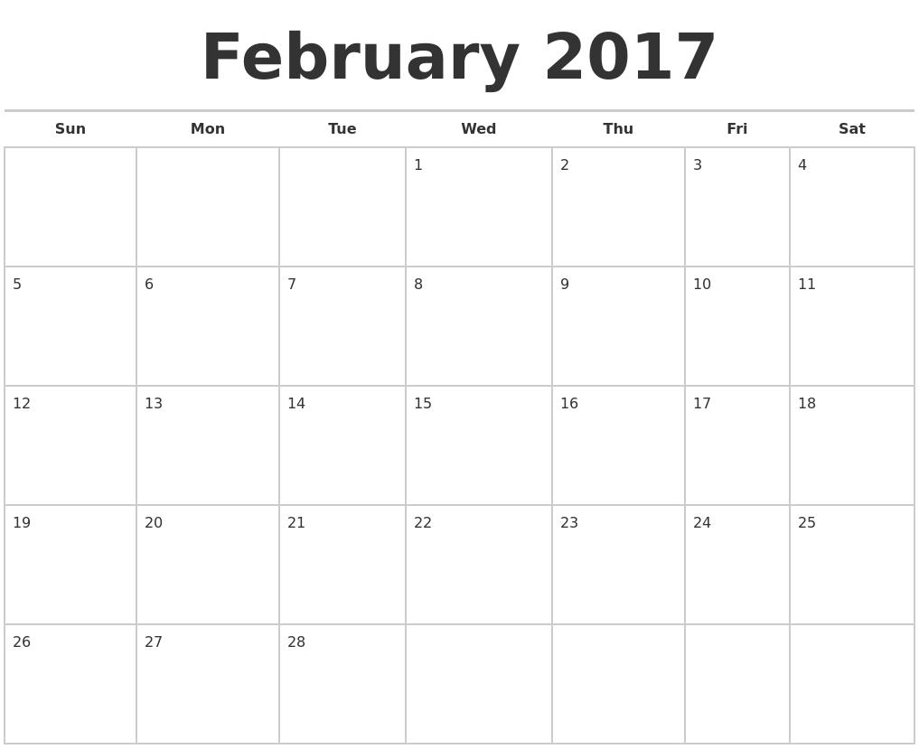 february 2017 calendars free