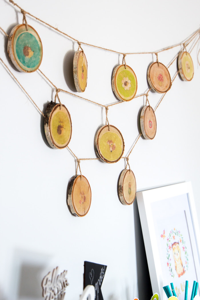 DIY wood slice garland 1900