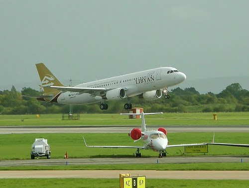 Libyan Airlines A320 departing Manchester