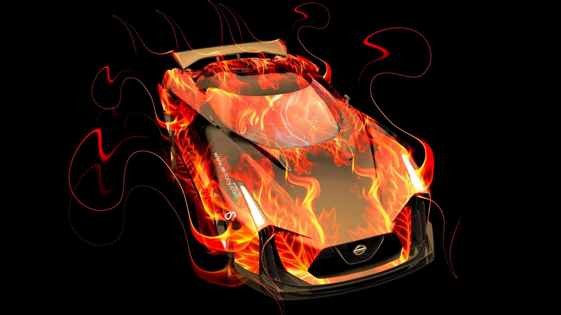 Design Talent Showcase El Tony Com Brings Sensual Elements Fire And Water To Your Car Wallpapers