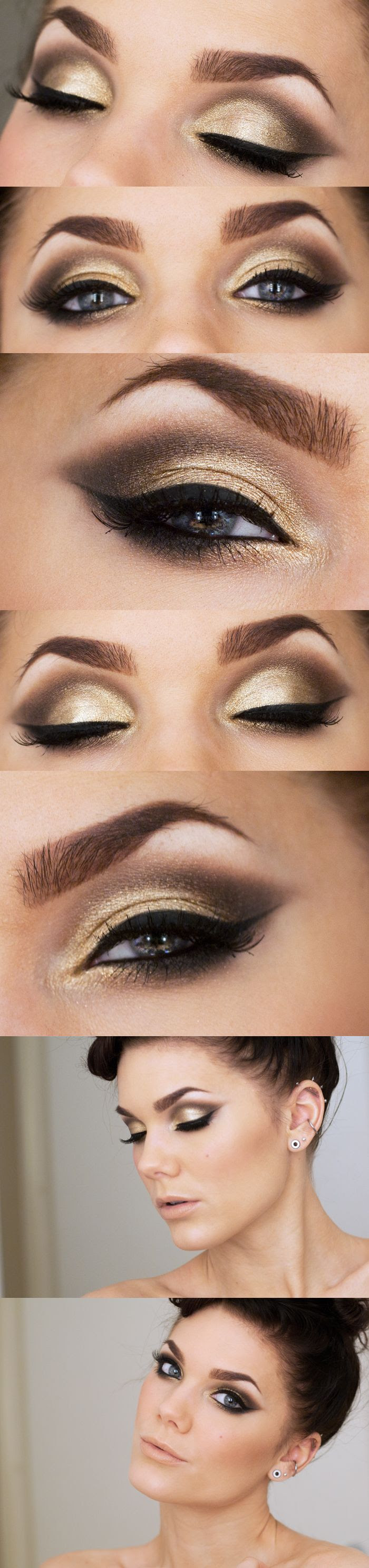 gold and brown makeup