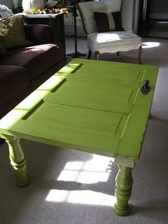 Kinda diggin' this old door turned coffee table