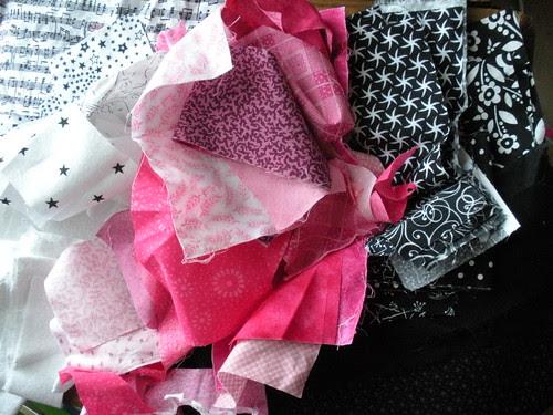 Fabric Scraps I used to make blocks