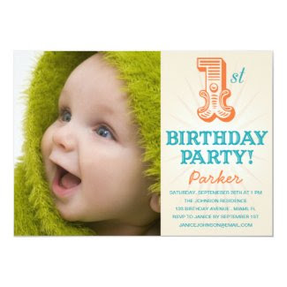 "TEAL & ORANGE 1ST | FIRST BIRTHDAY INVITATION 5"" X 7"" INVITATION CARD"