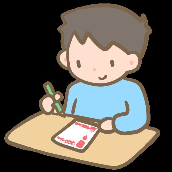 年賀状を書く男の子のイラスト かわいいフリー素材が無料のイラストレイン