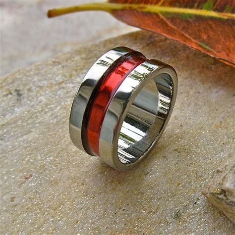 Firefighter's Thin Red Line Titanium Wedding Band