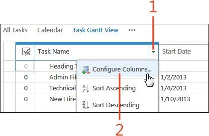 Sharepoint 2013 Organizing People And Work Viewing Tasks In A Gantt Chart Configure Gantt Columns Biztalk Server Exchange Server 2003 Exchange Server 2010 Sharepoint 2010 Microsoft Dynamics Crm