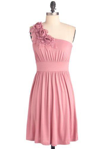 The Right Mauve Dress - Mid-length, Pink, Solid, Flower, Pearls, Wedding, Party, One Shoulder, Pastel, Prom, Bridesmaid, Summer