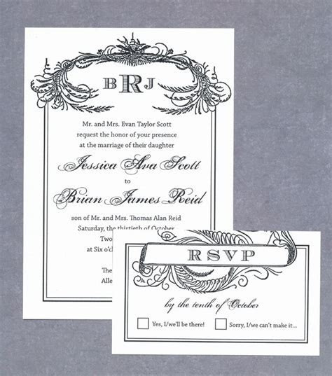 FREE wedding invitation printable download   Black Scroll