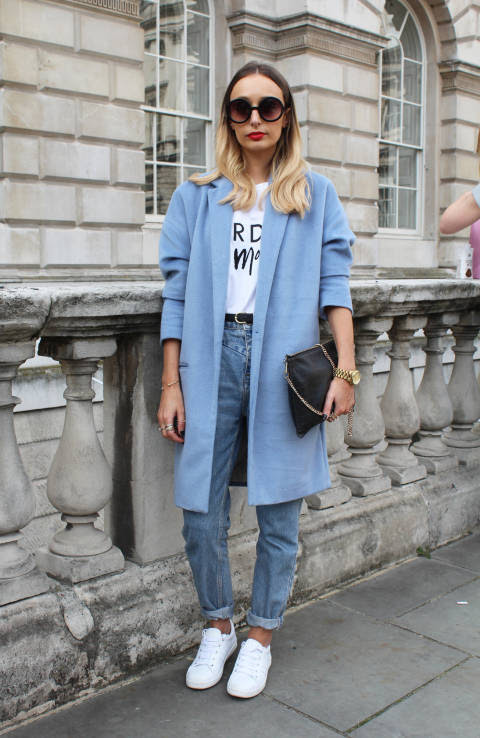 Danielle wears: Coat: River Island, Jeans: River Island, Top: River Island, Trainers: Zara, Bag: Whistles
