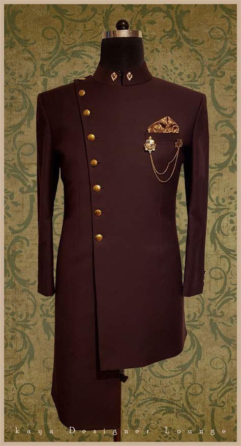 Traditional Wear Achkan Brooch Wine Achkan Embroidered