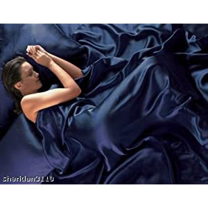 NAVY BLUE Satin Double Bed Duvet Cover & Fitted Sheet Set