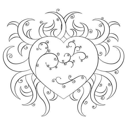fancy heart coloring page  free printable coloring pages