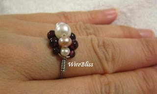 simple pearl and garnet wire wrap ring