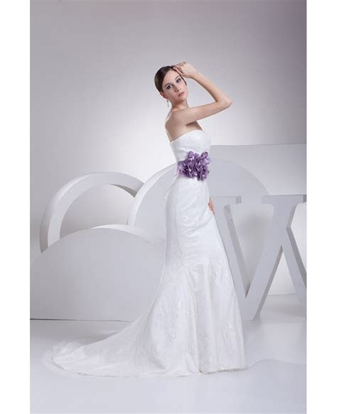 Strapless Mermaid All Lace White Wedding Dress with Purple
