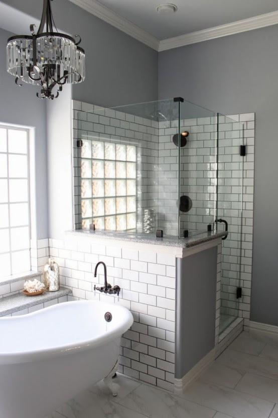 Creative Décor: 39 Bathrooms With Half Walls - DigsDigs
