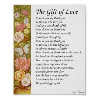Gift of Love Mother Poetry Poster Vintage Art Gift print