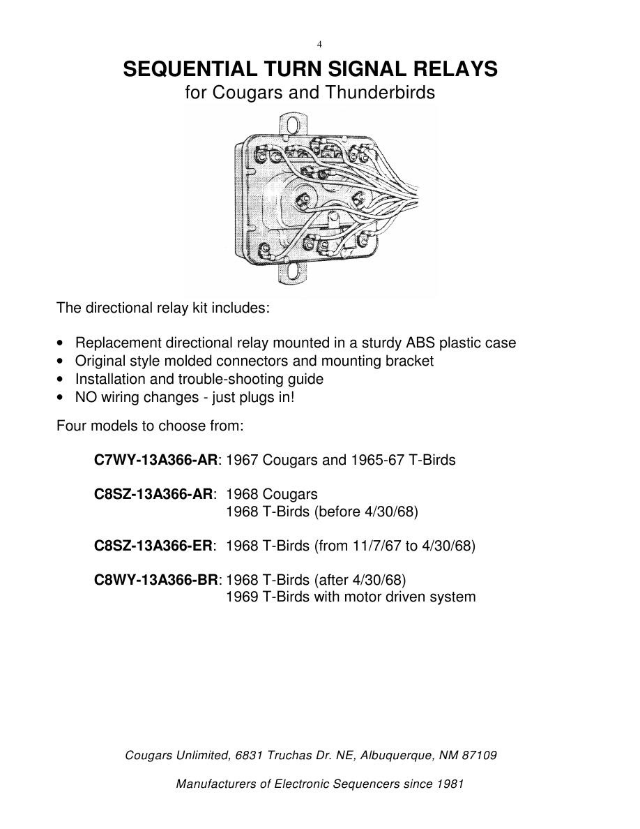 Sequential Turn Signal Parts Catalog By Cougars Unlimited