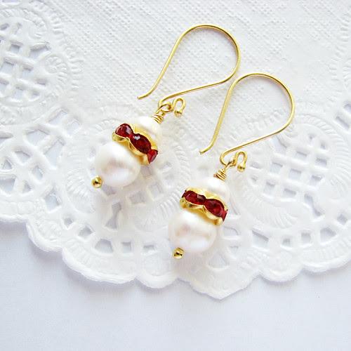 freshwater pearl earrings on vermeil gold