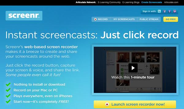 Screenr 8 Aplicaciones gratis para grabar la pantalla del ordenador
