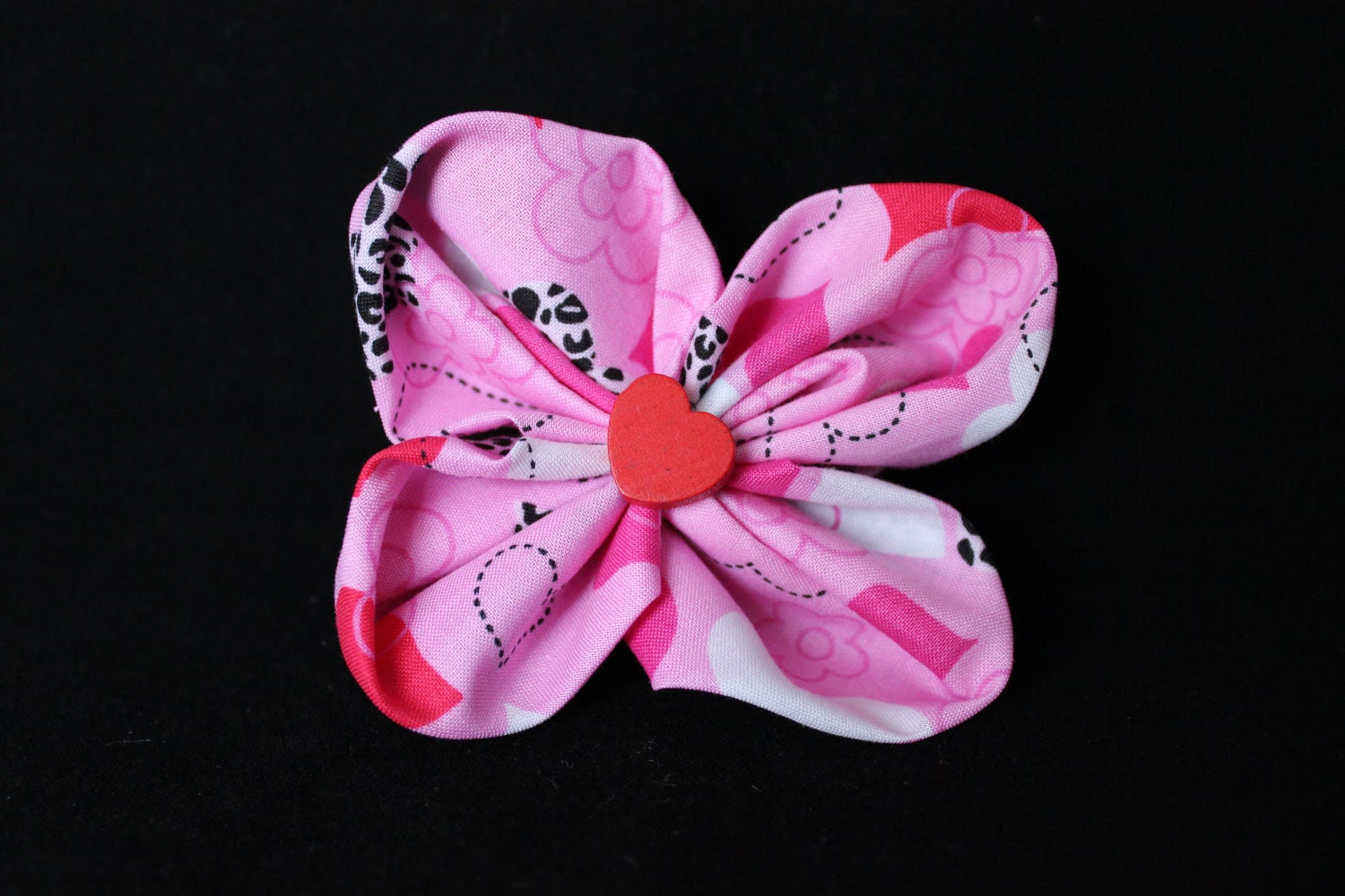 One of a Kind Flower & Heart Barrette
