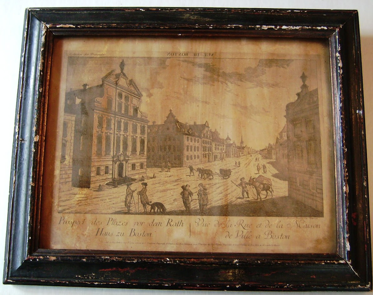 Rare Antique1920s Borghese Wood Framed Print Boston For Sale