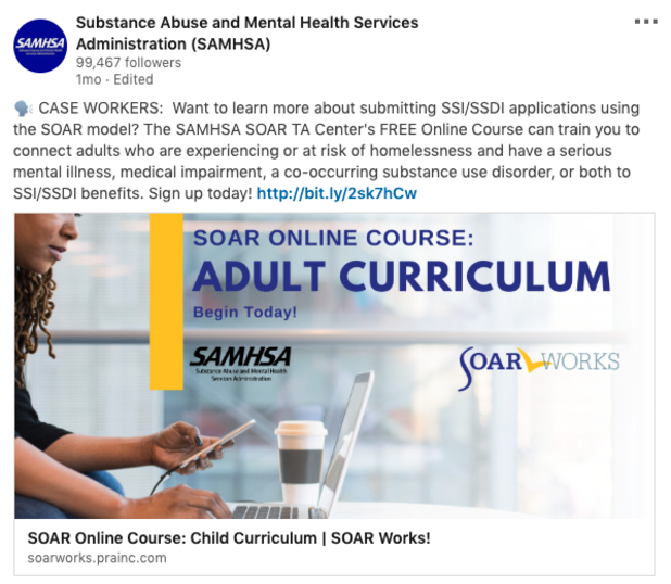Post from LinkedIn: SOAR Online Course: Adult Curriculum