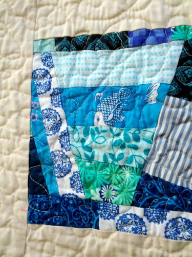 close up of fish section and quilting