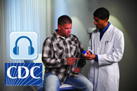 CDC podcast photo: doctor speaking to the patient